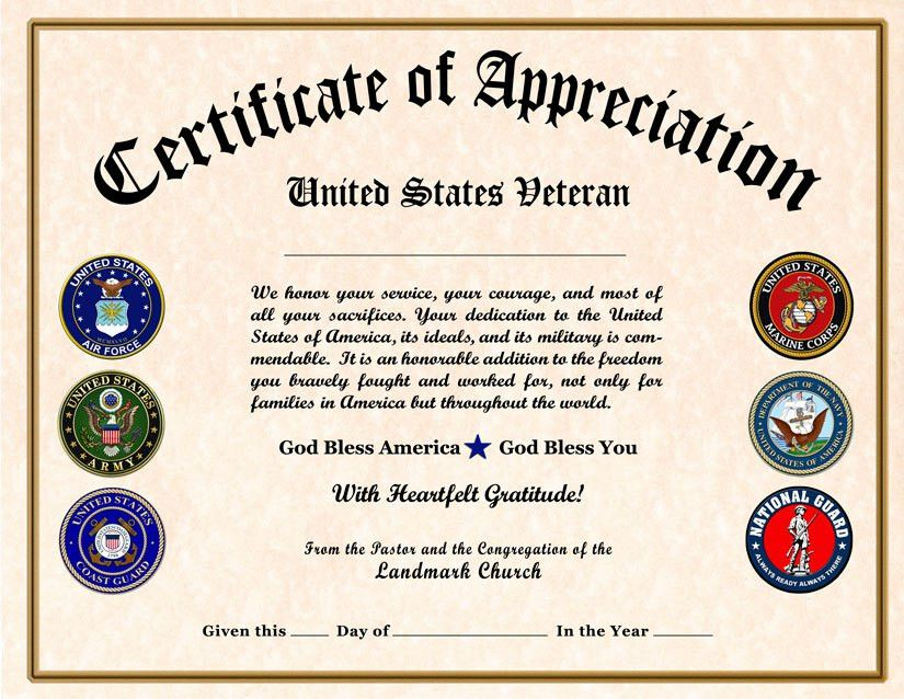 Military certificate of appreciation template free for Veterans appreciation certificate template