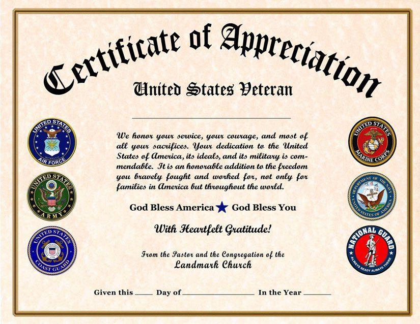 Military certificate of appreciation template free for Veterans appreciation certificate template
