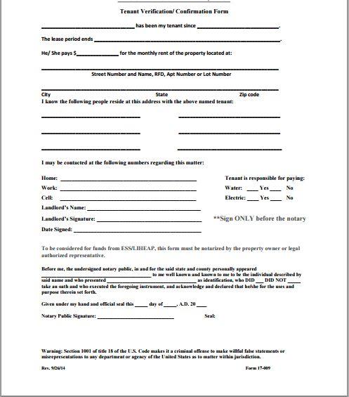 Tenant Verification Form Sample Tenant Verification Form 8 Free - landlord verification form