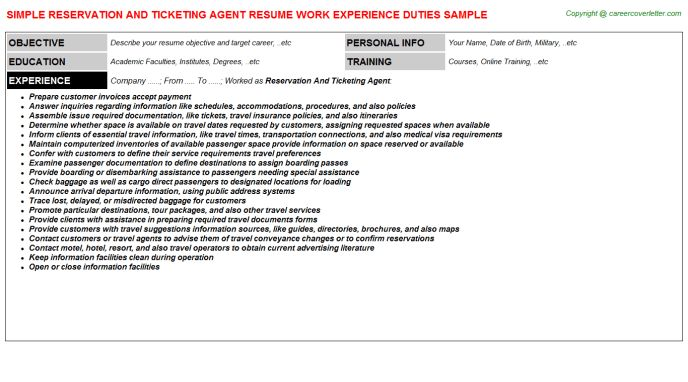 ticketing officer sample resume node2001-cvresumepaasprovider