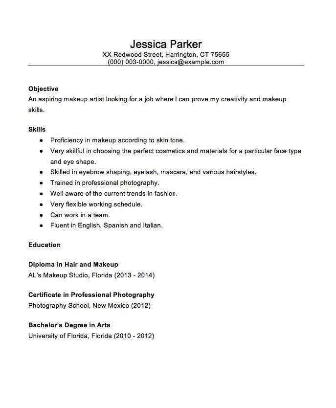 Artist Resume Objective Makeup Artist Resume Sample Hair Stylist