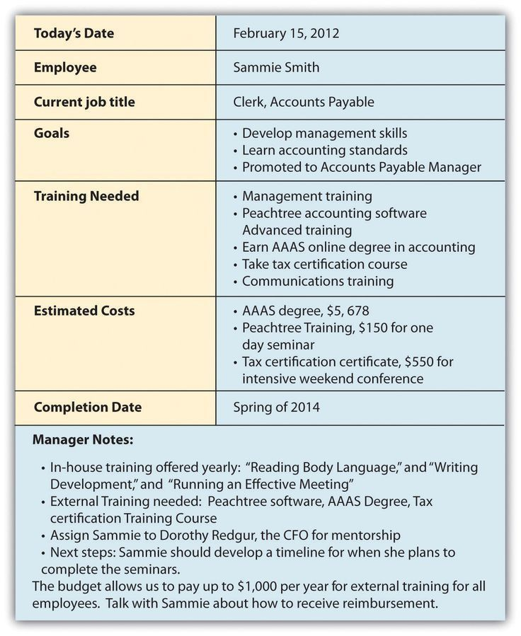 Sample Employee Development Plan Examples Employee Development - seminar planning template