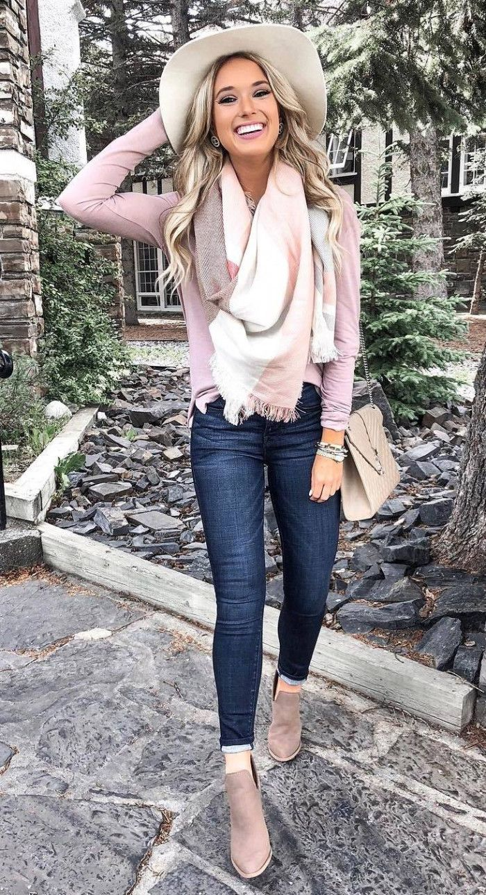 what to wear with a hat : scarf pink top bag skinny jeans boots