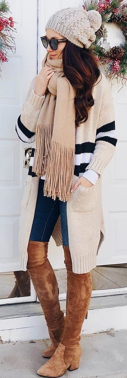 brown scarf and brown cardigan