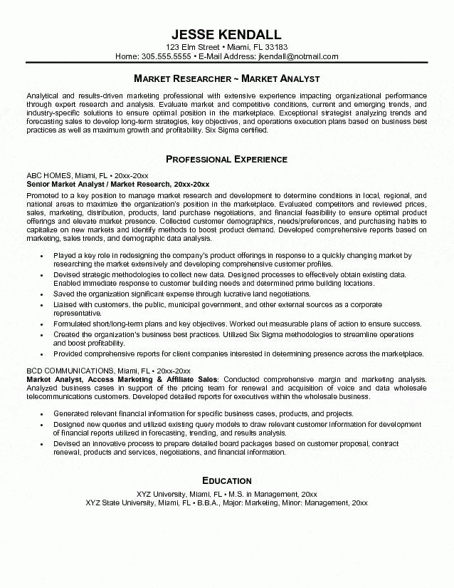 Market Research Resume Sample Analyst