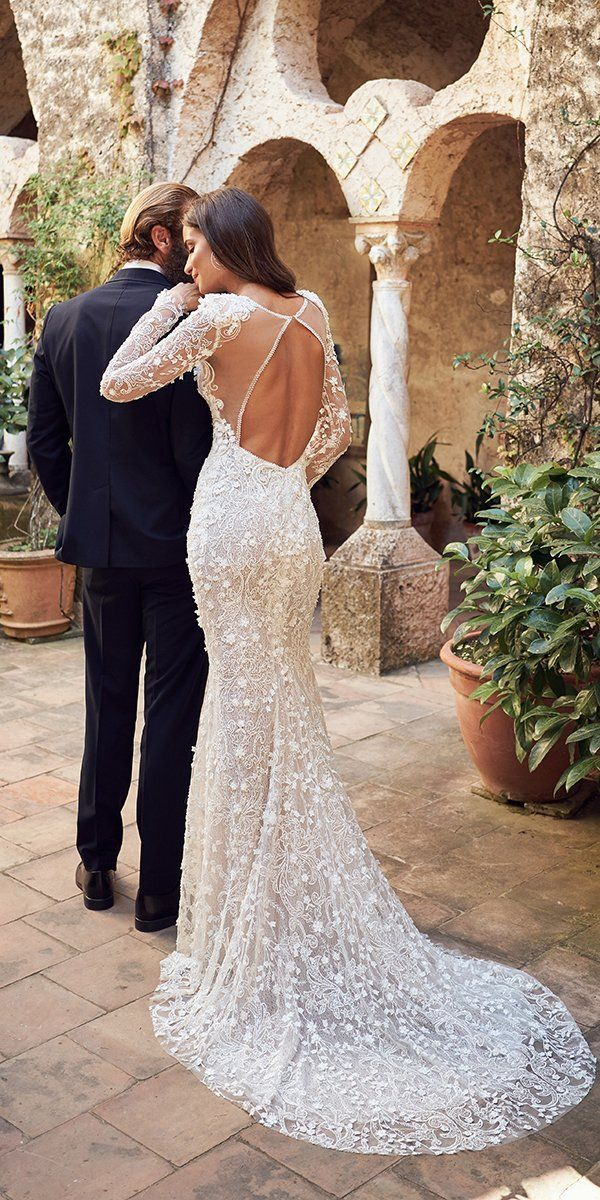 36 Lace Wedding Dresses That You Will Absolutely Love ❤ lace wedding dresses fit and flare open back with sleeves train won #weddingforward #wedding #bride