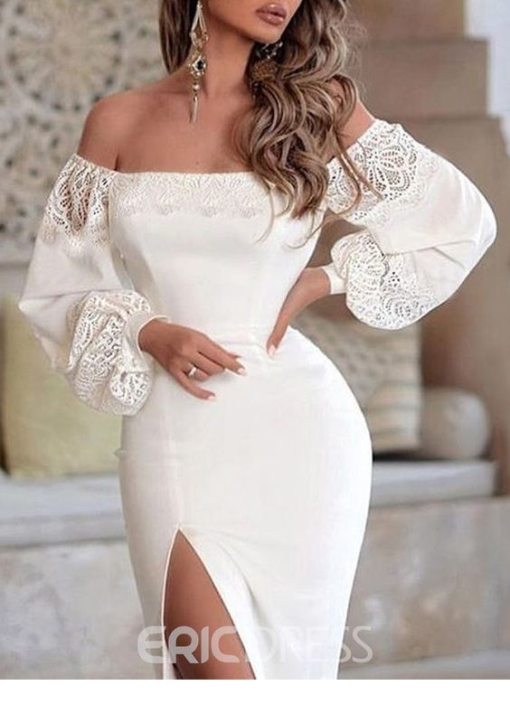 Amazing white dress with lace for summer and some long earrings