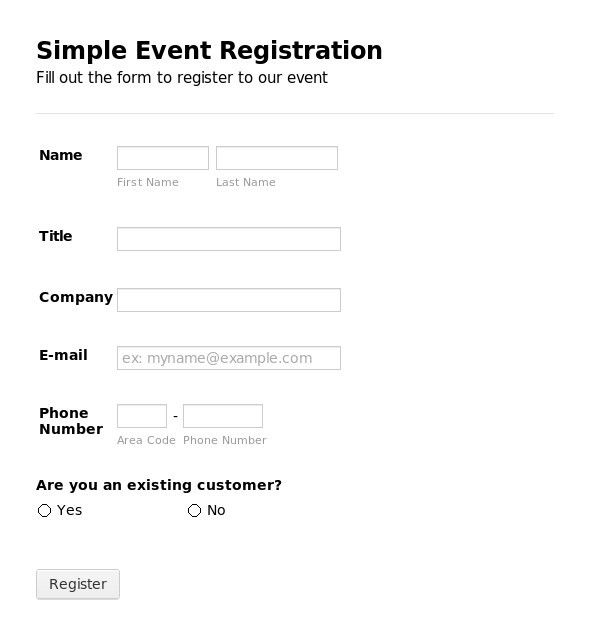 registration forms template free