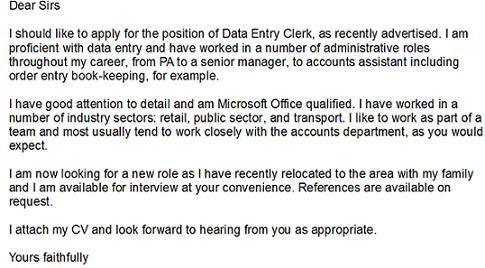 Data Entry Clerk Cover Letter  Data Entry Cover Letter