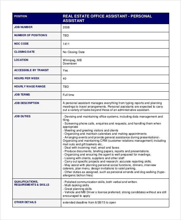 Personal Assistant Job Description resume examples personal - executive assistant job description resume