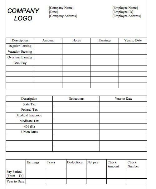 Payroll Pay Stub Template Download A Free Pay Stub Template For - payroll stub template free