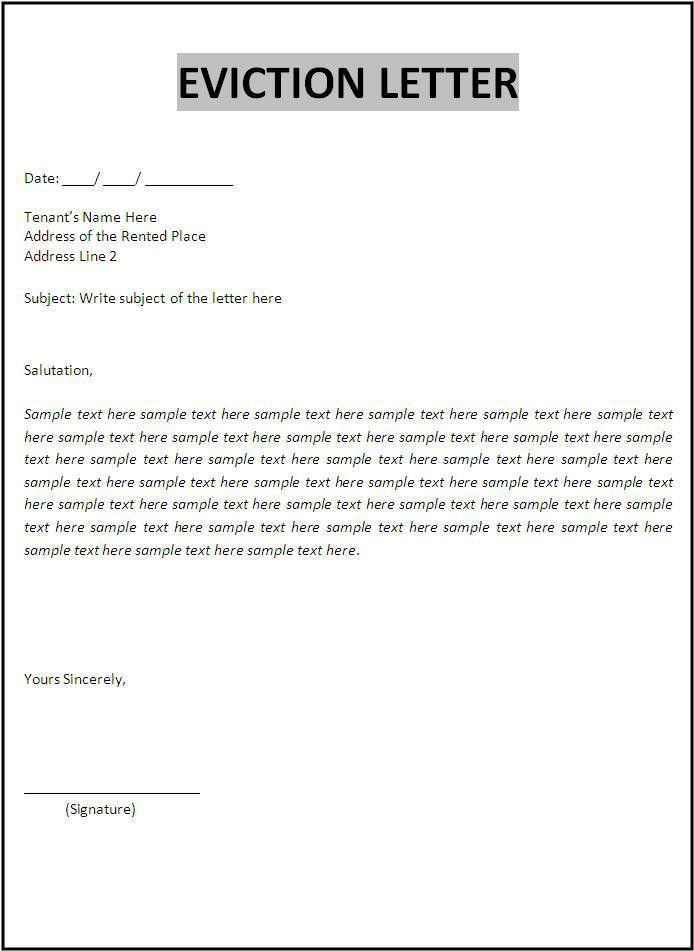 Free Eviction Letter Template Sample Eviction Notice Template 37 - free letter templates