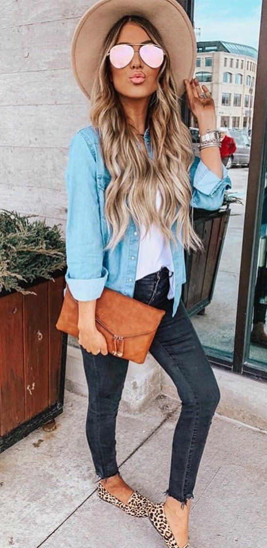 blue button-up shirt #spring #outfits