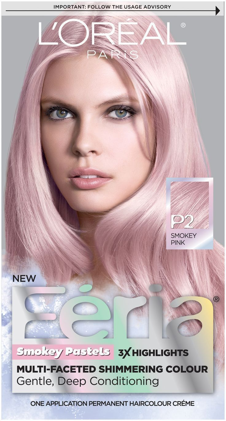 L'Oreal Paris Feria Pastels Smokey Pink hair color for spring!