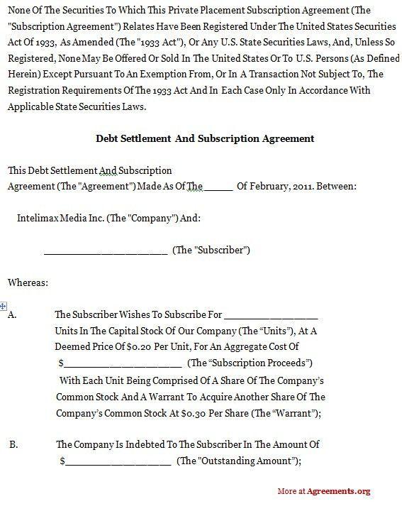 Sample Debt Settlement Agreement Debt Settlement Letter - settlement agreement template