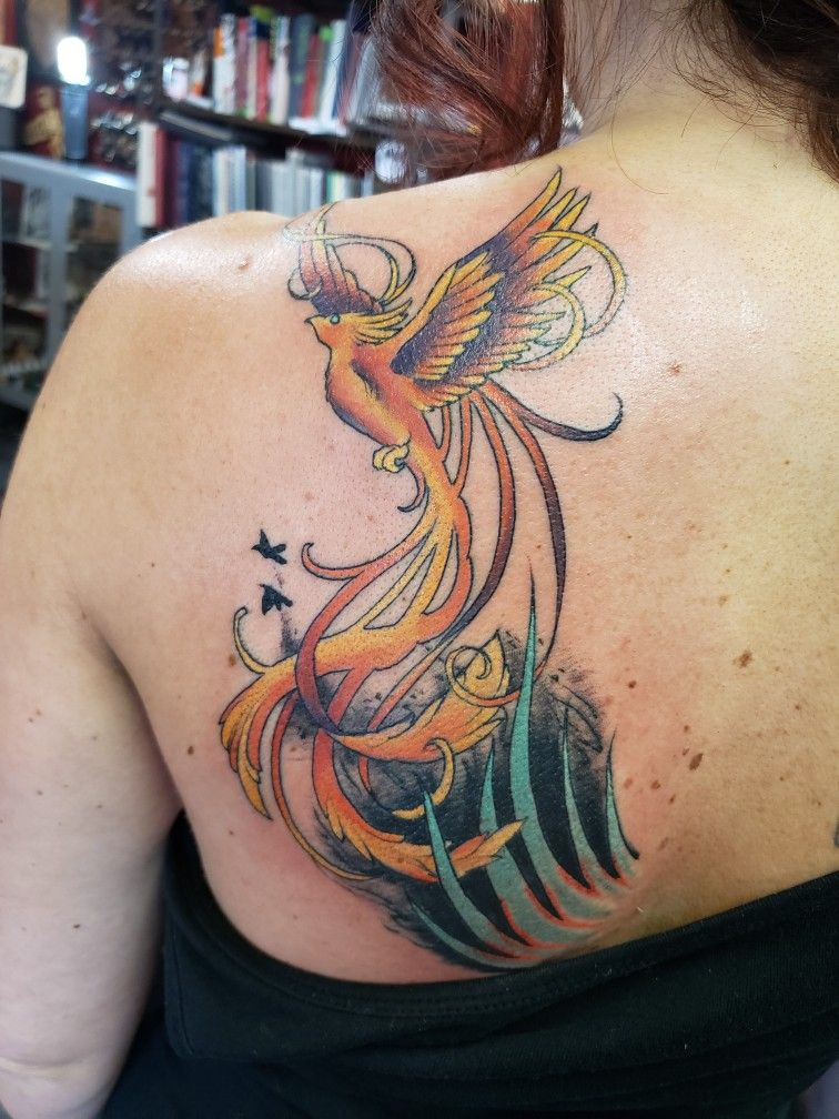 My Phoenix rising from the ashes tattoo. The 2 birds ...