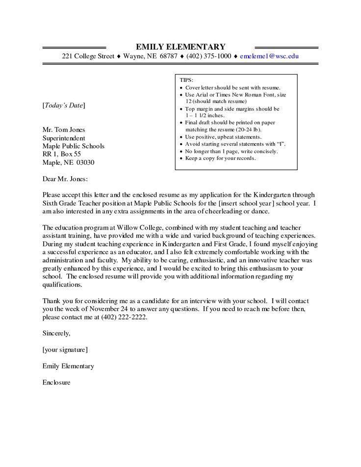 kindergarten cover letter