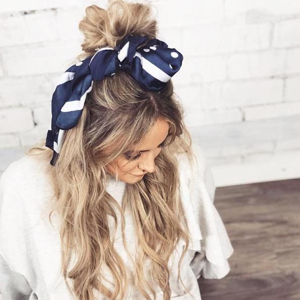 hair bun bow scarf hairstyle