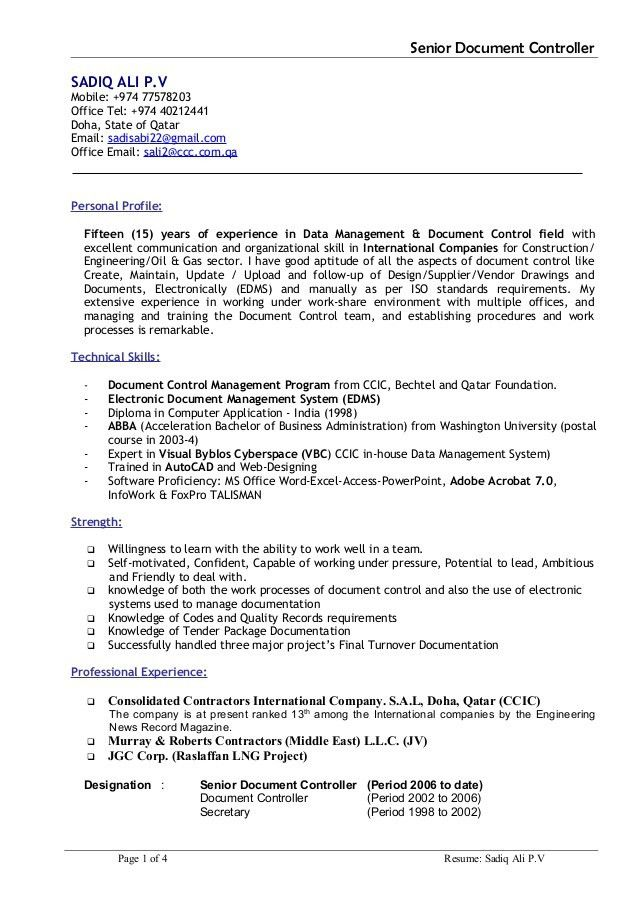 sample resume for document controller document controller resume