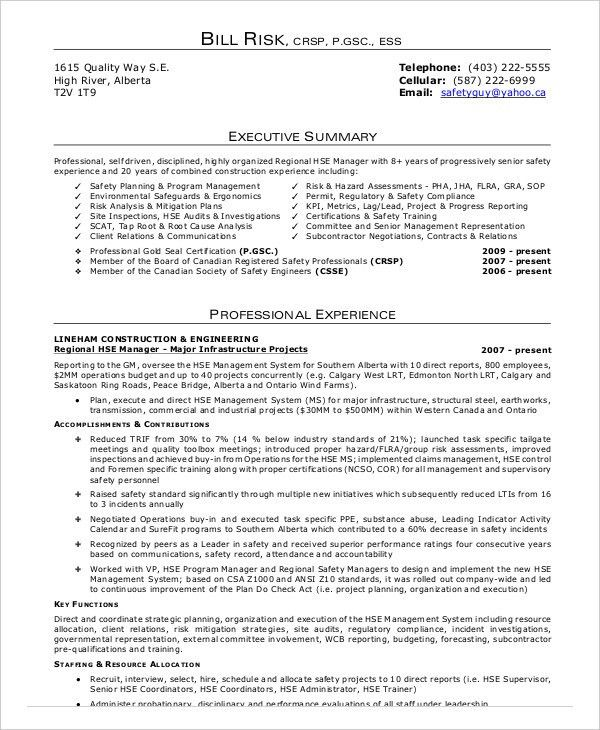 Ehs Resume Examples - Examples of Resumes - fire manager resume