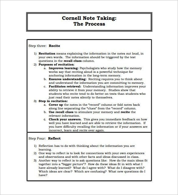 Note Taking Template Word Cornell Notes Template 51 Free Word Pdf - cornell note template