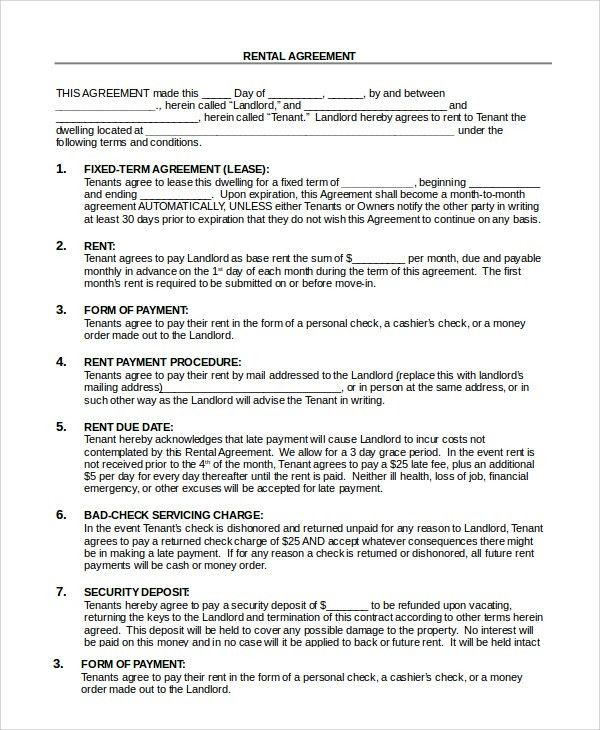 Rental House Lease Agreement Template Printable Sample Rent Lease - sample house lease agreement