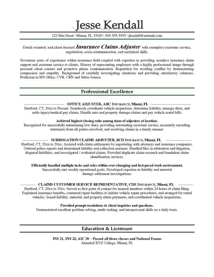 Farmers Insurance Adjuster Sample Resume ...