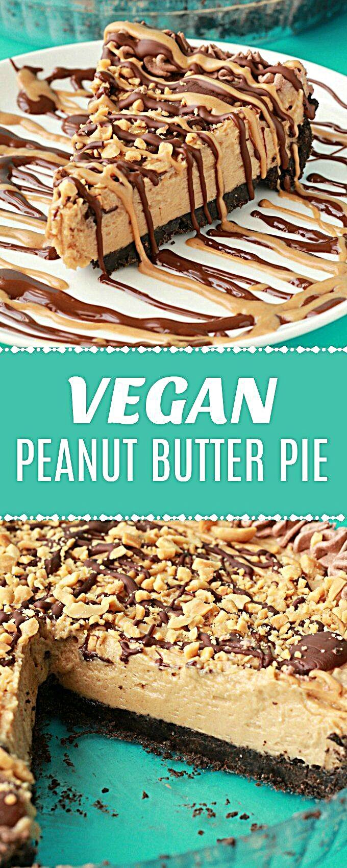Vegan Peanut Butter Pie. Purely irresistible no-bake vegan pie with an oreo cookie