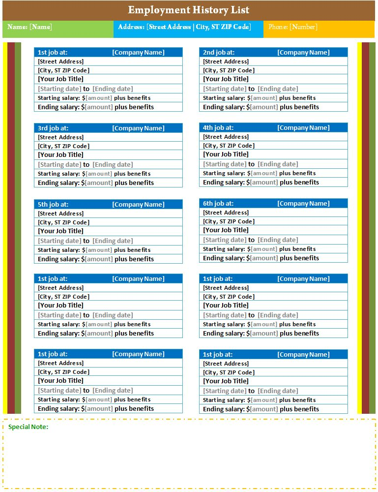 Employee task list template sample format - employment history template