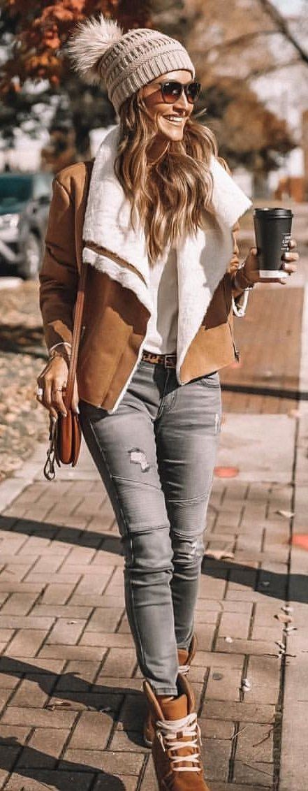 brown and white blazer