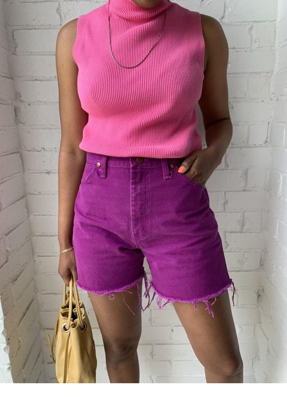 Nice pink top and purple shorts