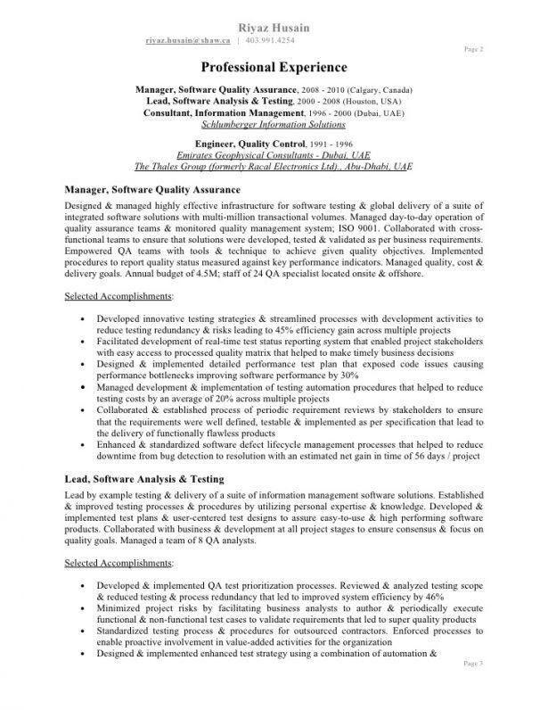sample resume quality assurance
