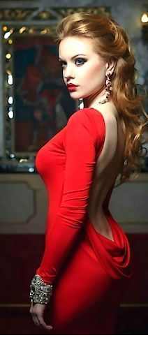 Glam red backless dress