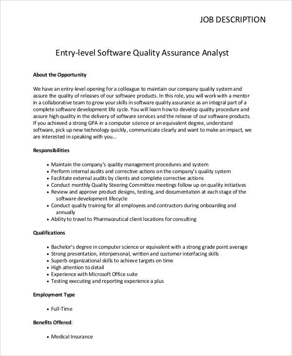 Fantastic Insurance Quality Assurance Job Description Contemporary