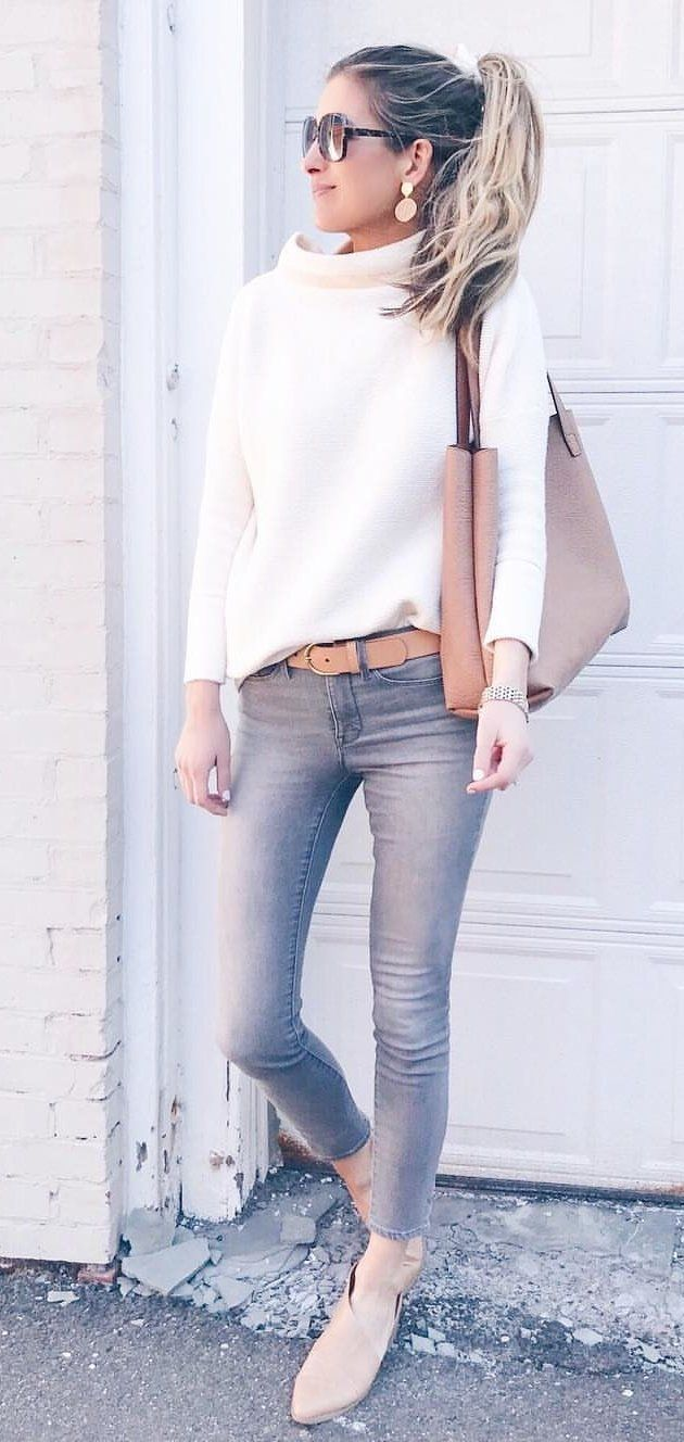 beige leather shoulder bag #spring #outfits