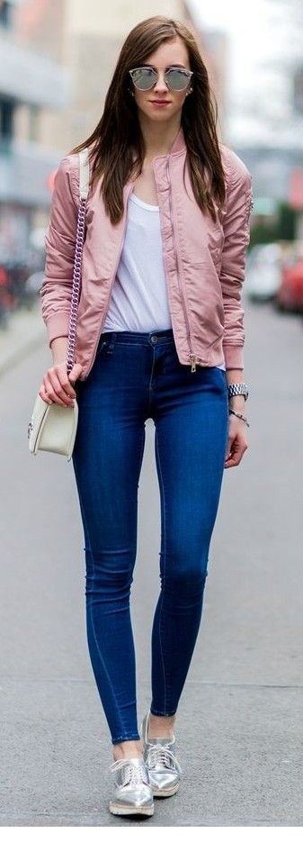 Pink jacket, white top and blue pants