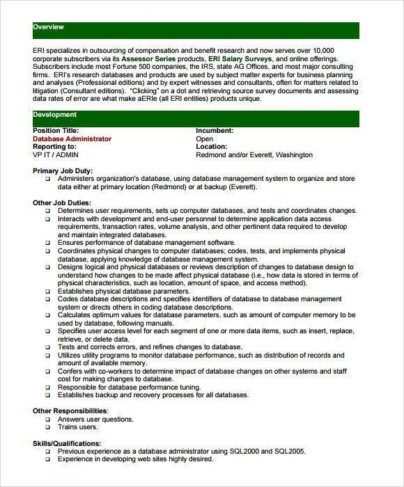 database administrator resume database administrator resume
