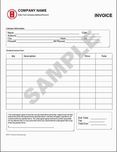 Electrical Invoice Template 13 Free Electrical Invoice Templates - invoice template australia