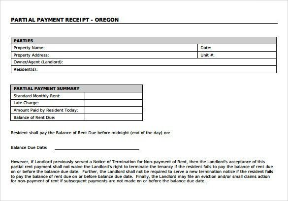 part payment receipt format