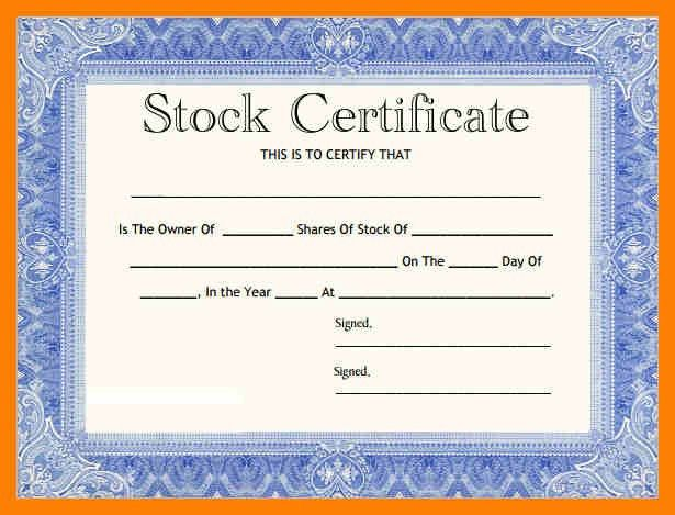 Stock Certificate Template Free