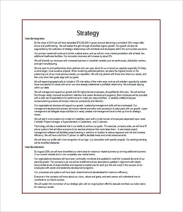 Business Plan Word Template Business Plan Templates 33 Examples - construction business plan template