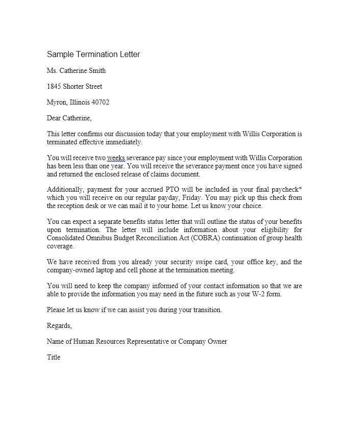 How To Write A Termination Letter To An Employee Free Termination - sample lease termination letter