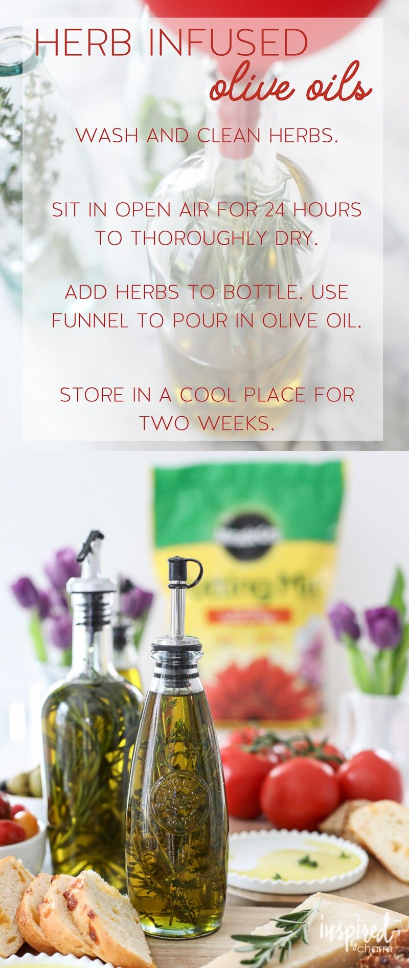 [ad] Combine entertaining and gardening by making your own Herb Infused Olive Oil with herbs grown in @miraclegro Potting Mix. #AndProject