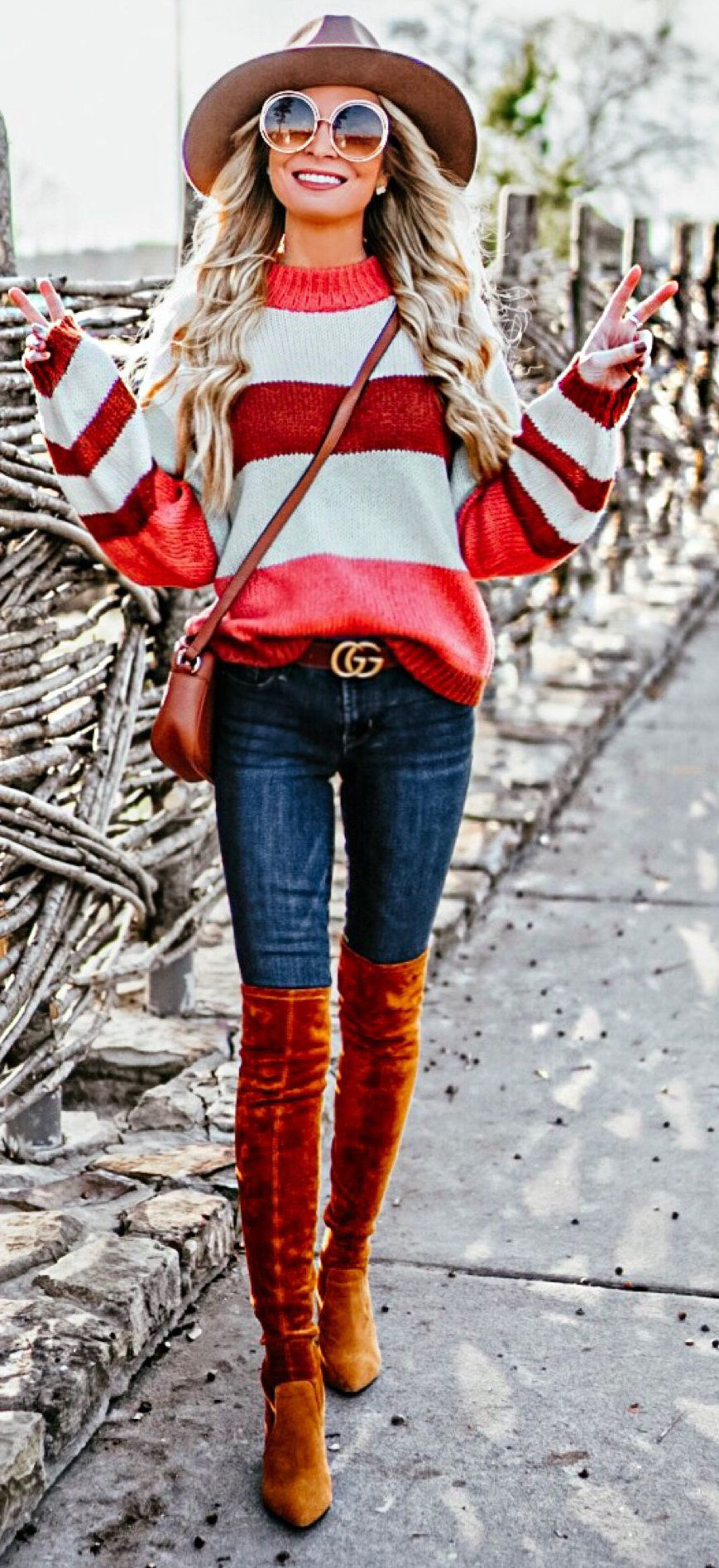 white and red striped crew-neck sweater