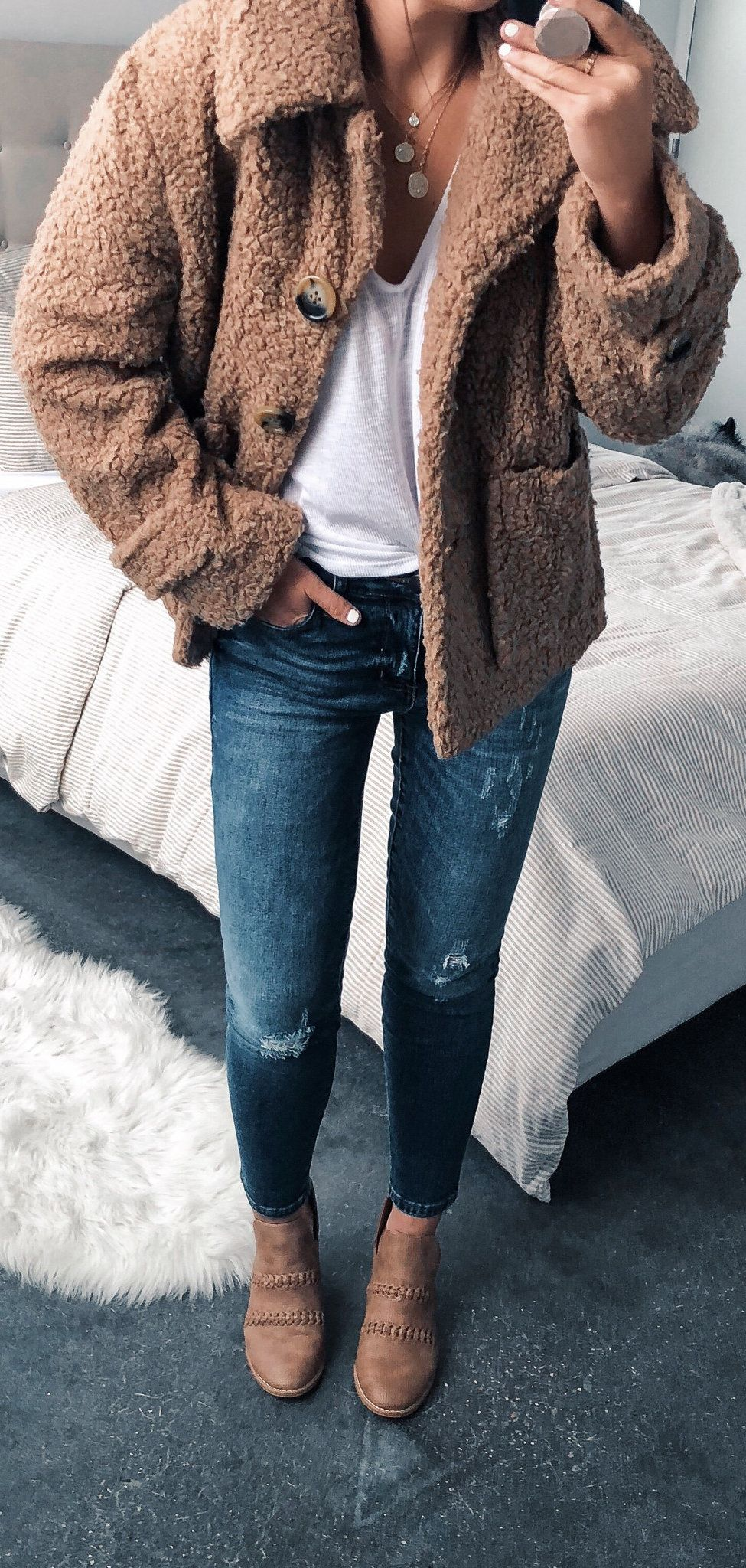 brown fur button-up jacket #spring #outfits