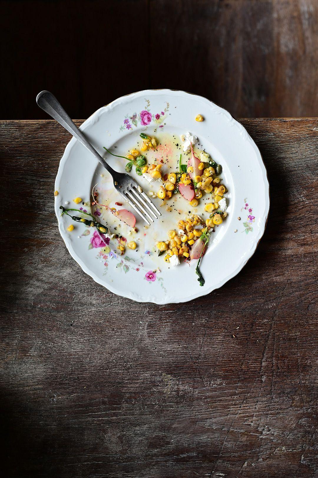 corn and radish salad with poppy seed dressing