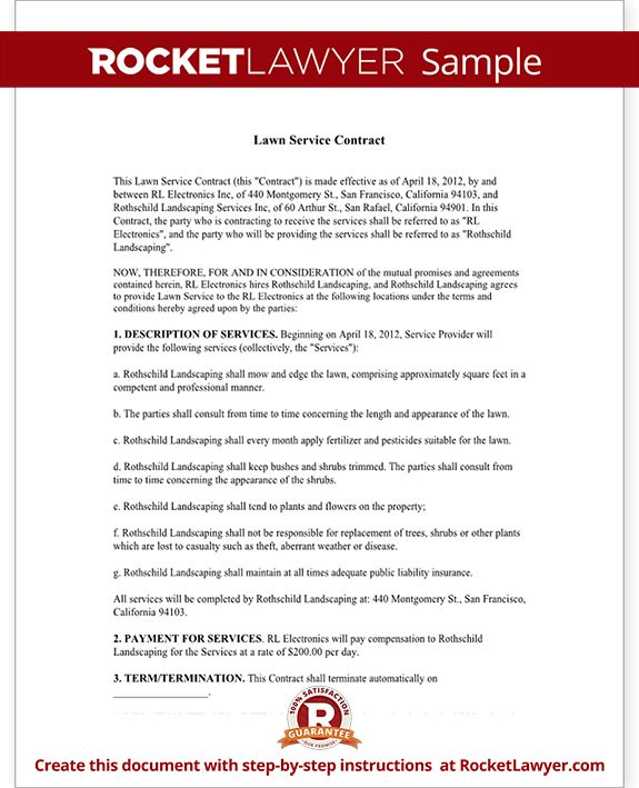 Lawn Service Contract Sample 6 Lawn Service Contract Templates - service contract form