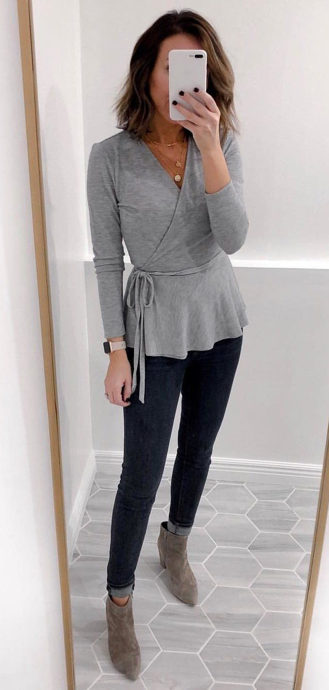 gray and black long sleeve dress #winter #outfits