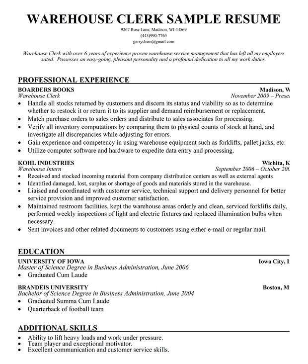 Warehouse Supervisor Sample Resume Unforgettable Inventory   Warehouse  Supervisor Sample Resume  Warehouse Resume Sample