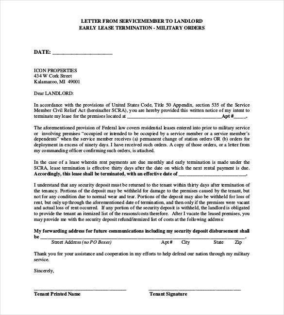 Sample Lease Termination Letter From Landlord To Tenant Sample - sample lease termination letter